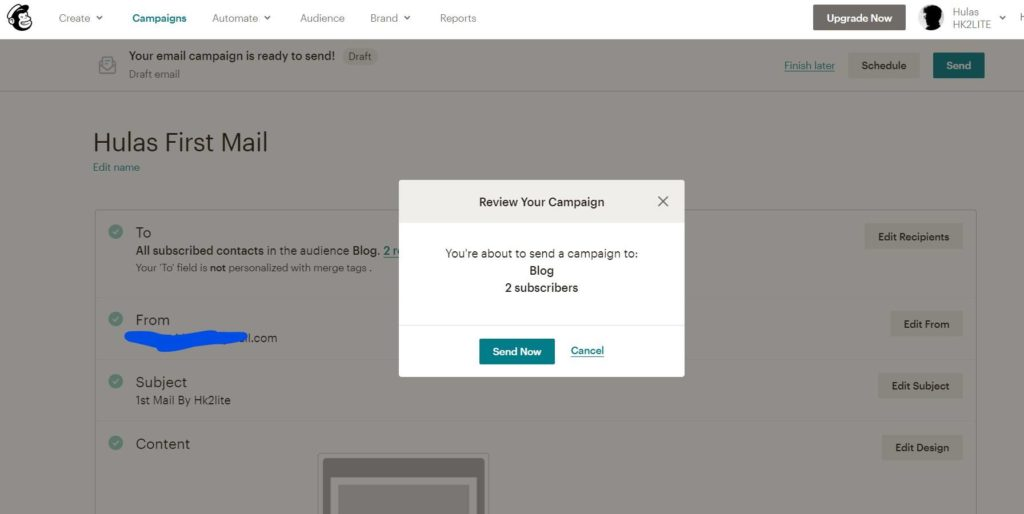 send an email, email subscription in wordpress