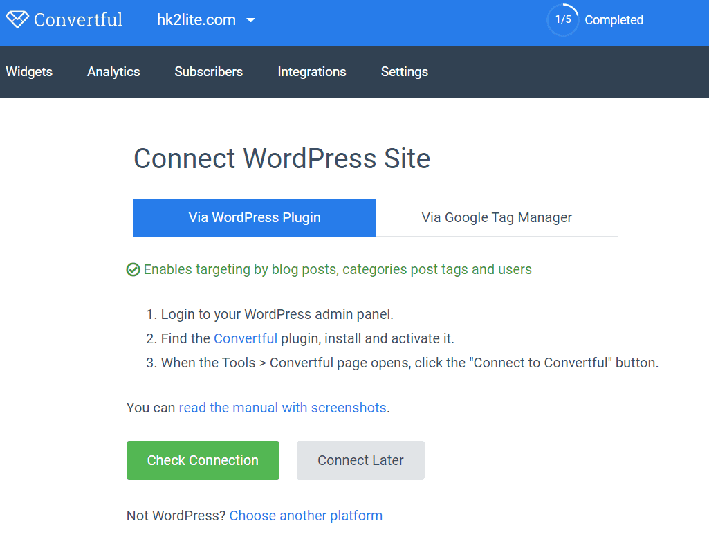 connecting converful to WordPress